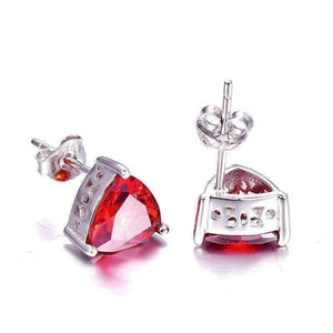 Feshionn IOBI Earrings Fire Garnet Trillion Cut 2.9CT IOBI Precious Gems Stud Earrings