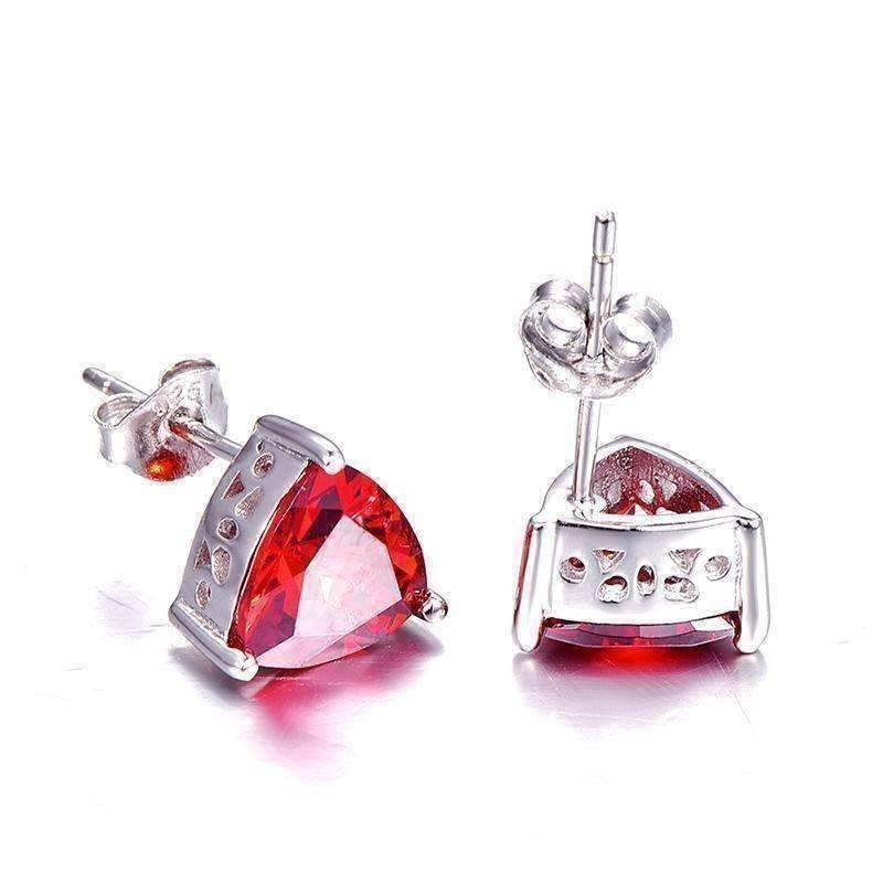 Feshionn IOBI Earrings Garnet Earrings Fire Garnet Trillion Cut 2.9CT IOBI Precious Gems Stud Earrings