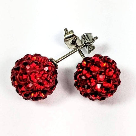 Feshionn IOBI Earrings Fire Red Shamballa Fire Red Crystals Stainless Steel Stud Earrings