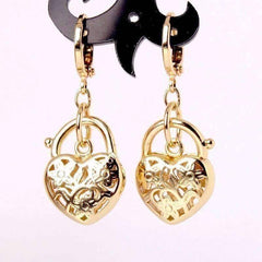 ON SALE - Floral Etched Heart Padlock Charm Earrings