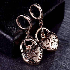 Feshionn IOBI Earrings Floral Etched Heart Padlock Charm Earrings