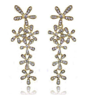 Feshionn IOBI Earrings Flower Crystal Drop Chandelier Earrings in Yellow or White Gold
