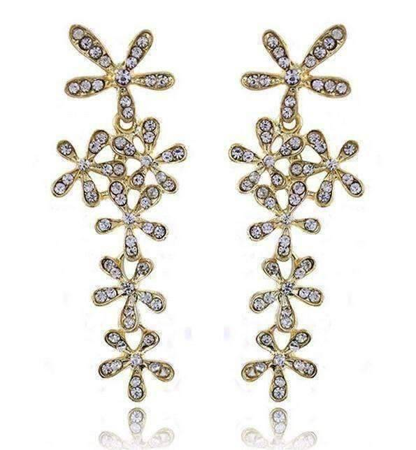 Feshionn IOBI Earrings Yellow Gold Flower Crystal Drop Chandelier Earrings in Yellow or White Gold