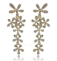 ON SALE - Flower Crystal Drop Chandelier Earrings in Yellow or White Gold