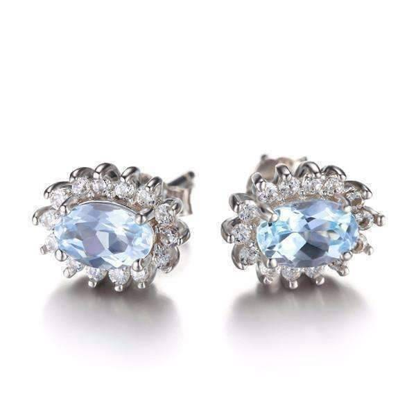 Feshionn IOBI Earrings French Blue Halo 1CTW Genuine Topaz IOBI Precious Gems Earrings