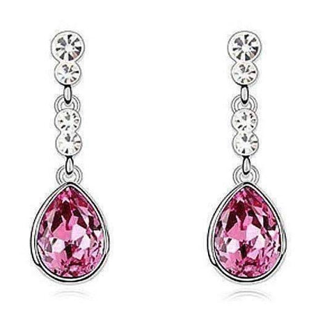 Feshionn IOBI Earrings Fuschia Pink IOBI Crystals Dew Drop Earrings - Choose Your Color