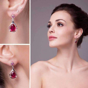 Feshionn IOBI Earrings Gala 7.6CTW Pear Drop Simulated Pigeon Blood Ruby IOBI Precious Gems Earrings