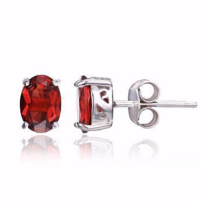 Feshionn IOBI Earrings Garnet Oval Earrings Legacy Garnet Oval Cut Genuine 1.6CT IOBI Precious Gems Stud Earrings