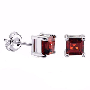 Feshionn IOBI Earrings Garnet Royal Garnet Princess Cut 0.5 CT Genuine IOBI Precious Gems Stud Earrings