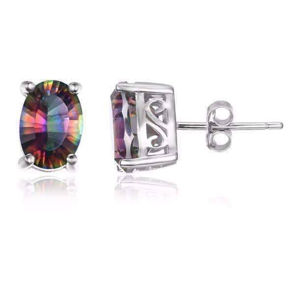 Feshionn IOBI Earrings Rainbow Oval Earrings Genuine Rainbow Fire Mystic Topaz Oval Cut 5CTW IOBI Precious Gems Stud Earrings