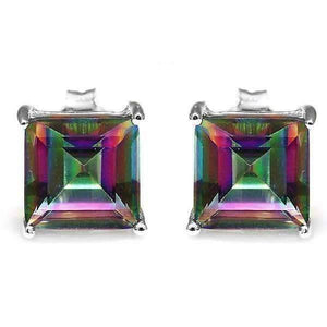 Feshionn IOBI Earrings Genuine Rainbow Fire Mystic Topaz Princess Cut 3CT IOBI Precious Gems Stud Earrings