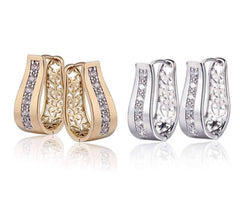 ON SALE - OB Youthful Collection - Crystal Diamonds Channel Set Filigree Hoop Earrings