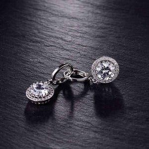 Feshionn IOBI Earrings Glorious Halo 2.4CTW  Swiss CZ Drop Hoop Earrings