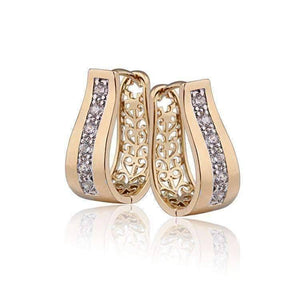 Feshionn IOBI Earrings Gold 2 in 1 18k Gold P With Crystal Diamonds Filigree Hoop Earrings