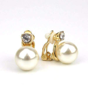 Feshionn IOBI Earrings Gold Crystal Accented Pearl Bead Clip-On Earrings In Yellow or White Gold