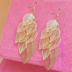 Feshionn IOBI Earrings Gold Dangling Leaf Chandelier Earrings in Gold or Silver