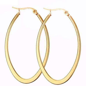 Feshionn IOBI Earrings Gold Elongated Oval Polished 18K Gold Plated Stainless Steel Hoop Earrings