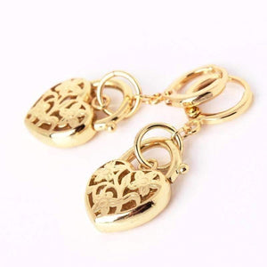 Feshionn IOBI Earrings Gold Floral Etched Heart Padlock Charm Earrings