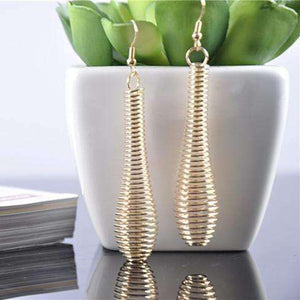 Feshionn IOBI Earrings Gold Gold Coil Drop Earrings