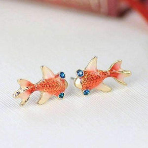 Feshionn IOBI Earrings Gold Gold Plated Goldfish Earrings with Blue Topaz Crystal Eyes