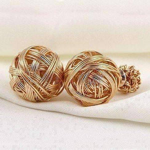 Feshionn IOBI Earrings Gold Metallic Moss Love Knot Reversible Stud Earrings