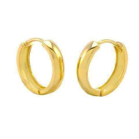 "Feshionn IOBI Earrings Gold ""Minimalist"" Polished Gold Huggie Hoop Earrings"