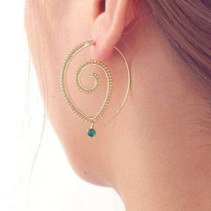 Feshionn IOBI Earrings Gold Tone Enlightened Jewel Accented Spiral Hoop Earrings in Silver or Gold Tone