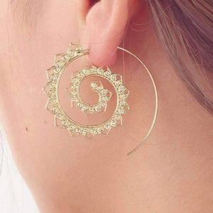 Feshionn IOBI Earrings Gold Tone Eternal Ornate Spiral Hoop Earrings in Silver or Gold Tone