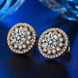Feshionn IOBI Earrings Golden Flower Halo CZ Stud Earrings