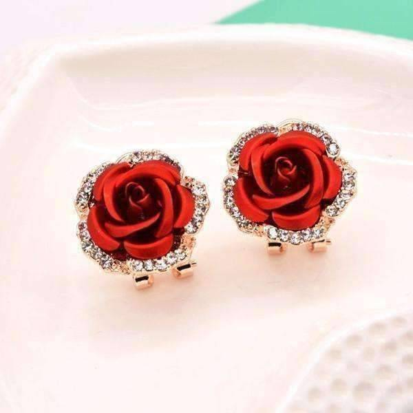 Feshionn IOBI Earrings Crimson Red Golden Reflections Metallic Rose Lever Back Stud Earrings - in Four Colors