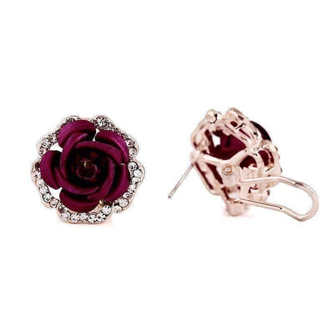 Feshionn IOBI Earrings Golden Reflections Metallic Rose Lever Back Stud Earrings - in Four Colors
