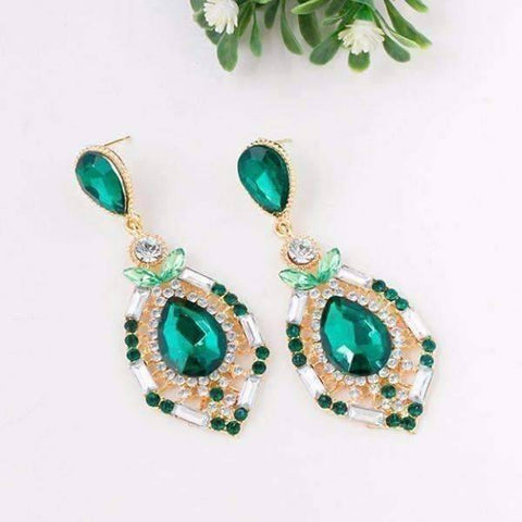 "Feshionn IOBI Earrings ""Green Alexandria"" Crystal Drop Earrings"