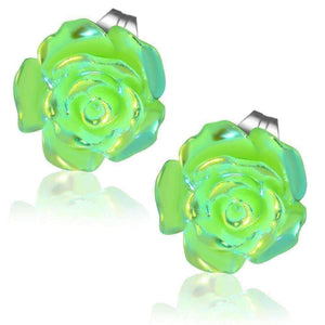 Feshionn IOBI Earrings Green CLEARANCE - Shimmering Green Rose Stud Earrings
