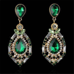 "Feshionn IOBI Earrings Green ""Green Alexandria"" Crystal Drop Earrings"