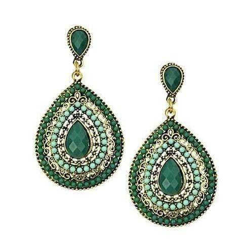 Feshionn IOBI Earrings Green ON SALE - Beaded Filigree Drop Earrings in Green