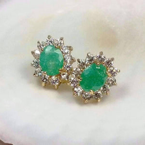 Feshionn IOBI Earrings Green Polished Pastel Druzy Quartz & CZ Stud Earrings - Your Choice of Color