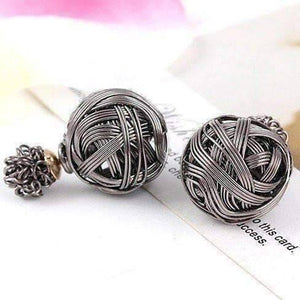 Feshionn IOBI Earrings Gunmetal Metallic Moss Love Knot Reversible Stud Earrings