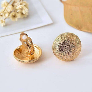 Feshionn IOBI Earrings Hammered Gold Dome Clip-On Earrings