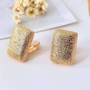 Feshionn IOBI Earrings Hammered Gold Ingot Clip-On Earrings