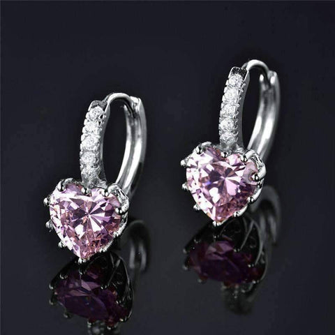 Feshionn IOBI Earrings Heart Shaped Blushing Pink Diamond CZ Solitaire Hoop Earrings