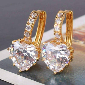 Feshionn IOBI Earrings Heart Shaped Diamond CZ Solitaire Hoop Earrings In White Or Yellow Gold