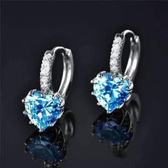 ON SALE - Heart Shaped Island Blue Diamond CZ Solitaire Hoop Earrings