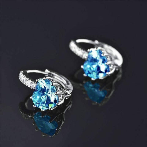 Feshionn IOBI Earrings Heart Shaped Island Blue Diamond CZ Solitaire Hoop Earrings