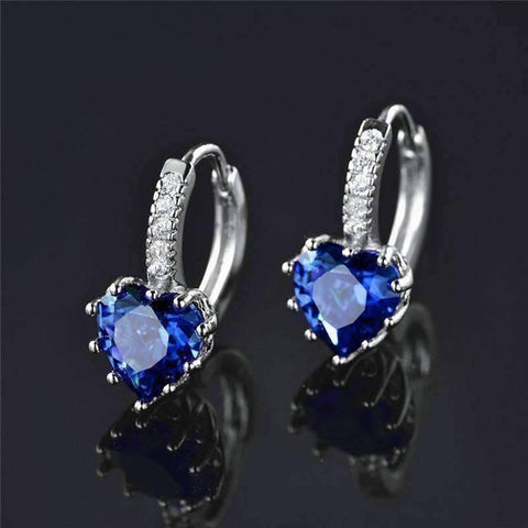 Feshionn IOBI Earrings Heart Shaped Midnight Blue Diamond CZ Solitaire Hoop Earrings