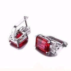 Heirloom 8CT Emerald Cut Simulated Pigeon Blood Ruby IOBI Precious Gems Earrings