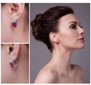 Feshionn IOBI Earrings Heirloom 8CT Emerald Cut Simulated Pigeon Blood Ruby IOBI Precious Gems Earrings