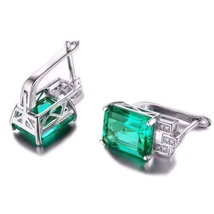 Feshionn IOBI Earrings Heritage 8CT Emerald Cut Simulated Russian Emerald IOBI Precious Gems Earrings