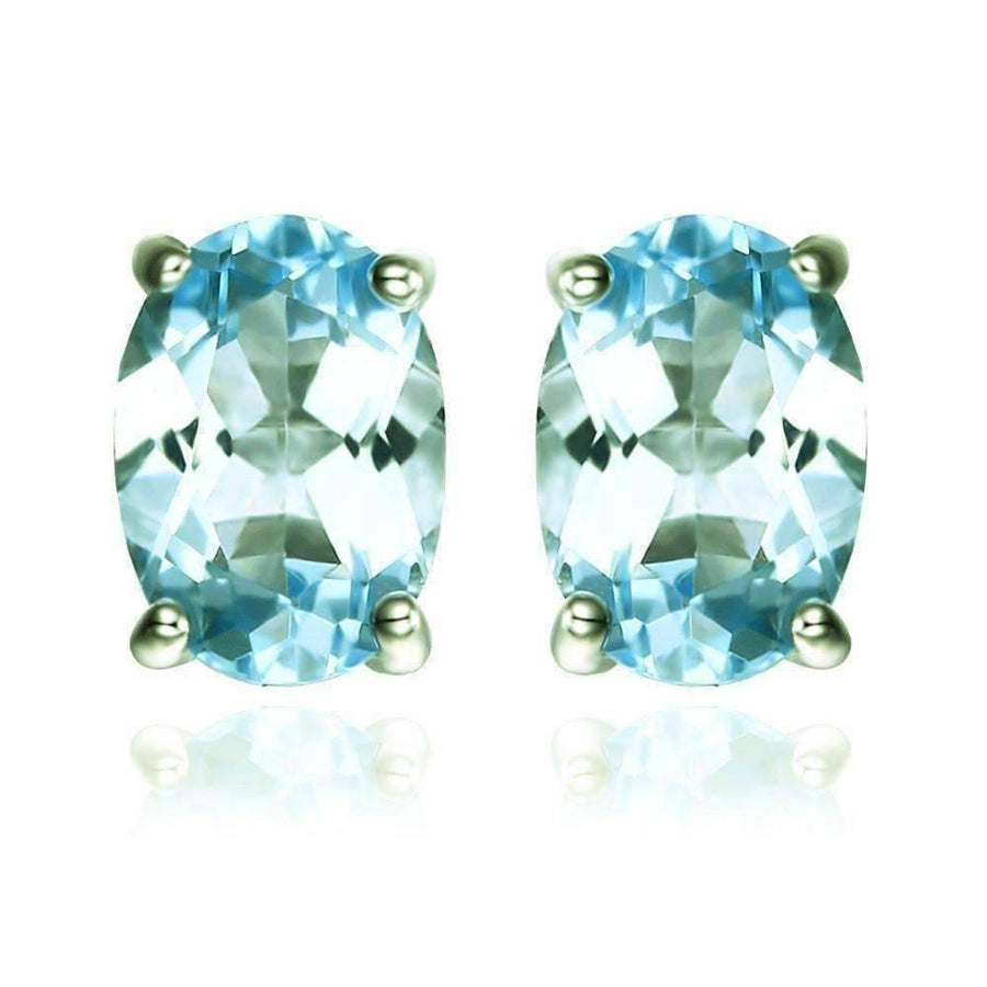 Feshionn IOBI Earrings Topaz Oval Earrings Ice Blue Genuine Topaz Oval Cut 1.8 CT IOBI Precious Gems Stud Earrings