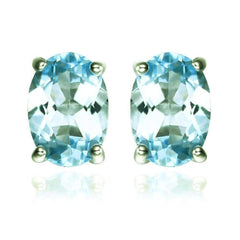Ice Blue Genuine Topaz Oval Cut 1.8 CT IOBI Precious Gems Stud Earrings