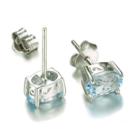 Feshionn IOBI Earrings Ice Blue Genuine Topaz Oval Cut 1.8 CT IOBI Precious Gems Stud Earrings
